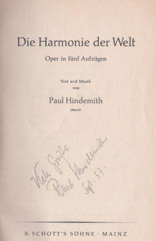 Hindemith, Paul. Die Harmonie der Welt.