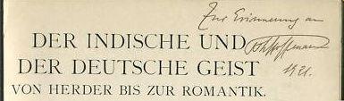 Hoffmann, Paul Th. Der indische und der deutsche Geist.
