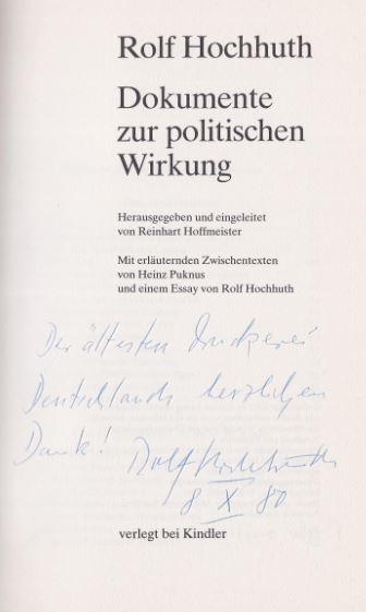 Hochhuth, Rolf. Dokumente zur politischen Wirkung.