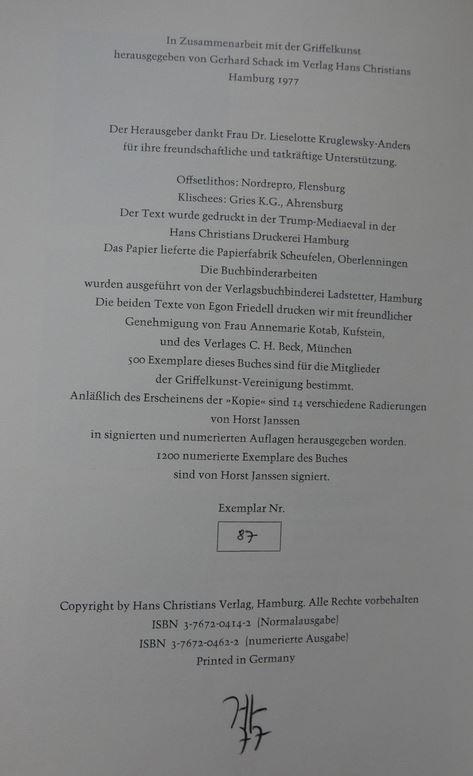 Janssen, Horst und Gerhard (Hrsg.) Schack. Die Kopie.