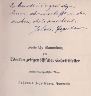 Jegerlehner, Johannes. Petronella.