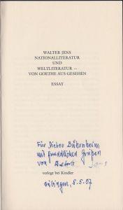 Jens, Walter. Nationalliteratur und Weltliteratur - von Goethe aus gesehen.