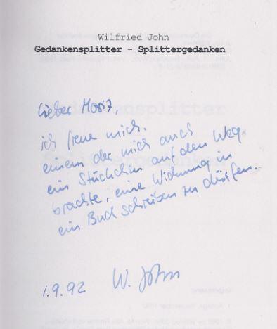 John, Wilfried. Gedankensplitter - Splittergedanken.