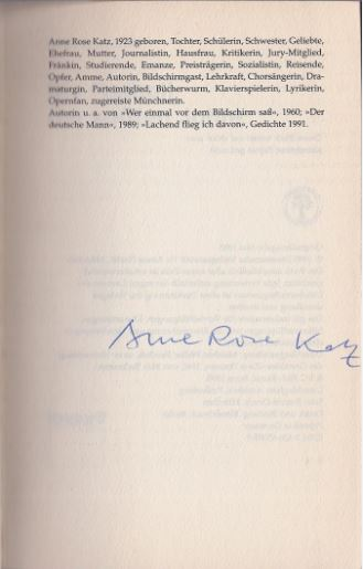Katz, Anne Rose. Die Freiheit der späten Jahre.