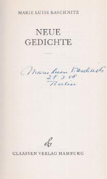 Kaschnitz Marie Luise Neue Gedichte