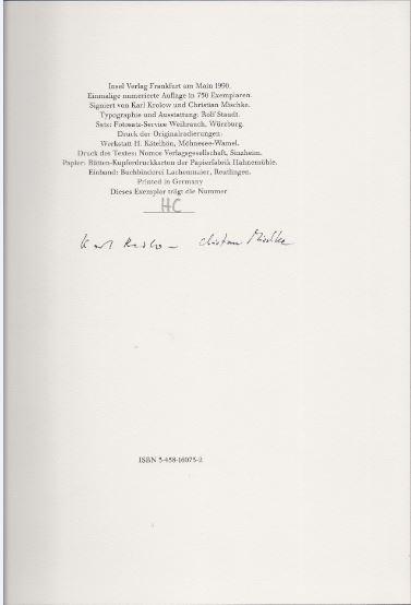 Rilke, Rainer Maria und Karl Krolow. Les Fenetres Fenetres. Die Fenster.