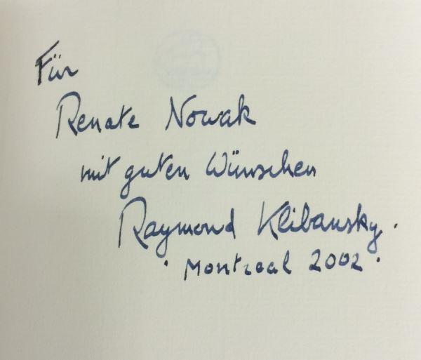 Klibansky, Raymond. Erinnerung an ein Jahrhundert.