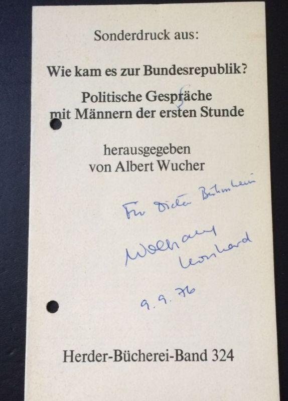 Wucher, Albert (Hrsg.). Wie kam eszur Bundesrepublik?