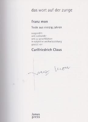 Mon, Franz und Carlfriedrich Claus. das wort auf der zunge.