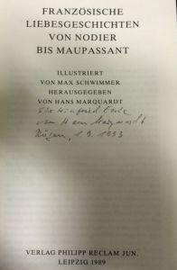 Marquardt, Hans (Hrsg.) und Charles (Mitverf.) Nodier. Französische Liebesgeschichten von Nodier bis Maupassant.