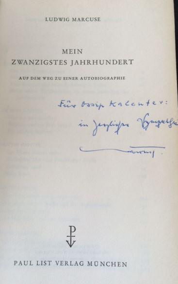 Marcuse, Ludwig. Mein zwanzigstes Jahrhundert.