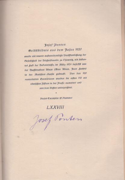 Ponten, Josef. Selbstbildnis aus dem Jahre 1920.