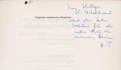 Pohl, Hans (Hrsg.) und Wilhelm (Hrsg.) Treue. Integration ausländischer Mitarbeiter.