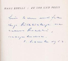 Roelli, Hans. Zu Lob und Prei.