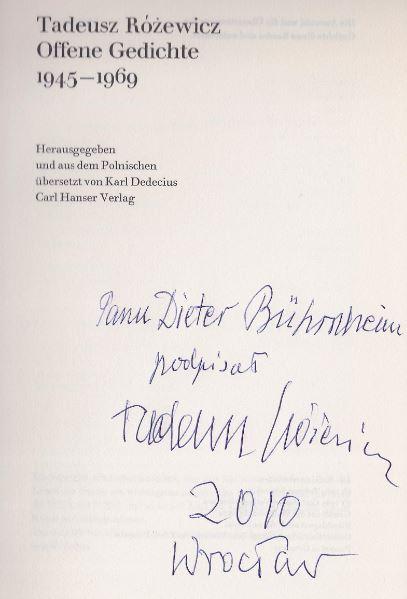 Rózewicz, Tadeusz. Offene Gedichte 1945-1969.