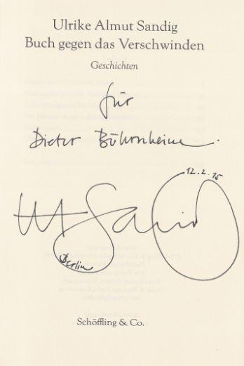 Sandig, Ulrike Almut. Buch gegen das Verschwinden