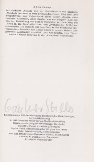 Brecht, Bertolt und Günther (Illustrator) Stiller. Kalendergeschichten.