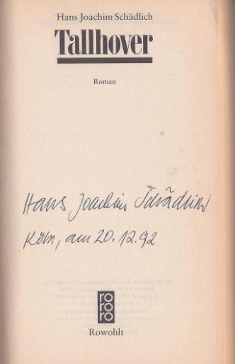 Schädlich, Hans Joachim. Tallhover.