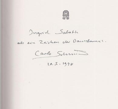 Lenz, Siegfried [Vorw.] und Carlo [gefeierte Person] Schmid. Lieblingsgedichte.