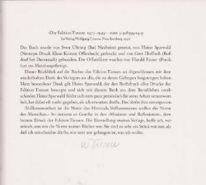 Lang, Lothar und Wolfgang Tiessen. Die Edition Tiessen 1977-1995. 4 Bände (komplett).
