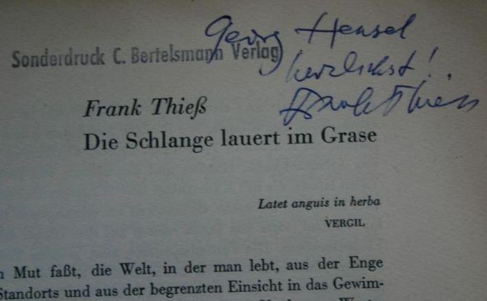 Thiess, Frank. Wo stehen wir heute?
