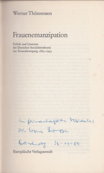 Thönnessen, Werner. Frauenemanzipation.