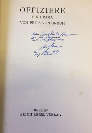 Unruh, Fritz von. Offiziere.