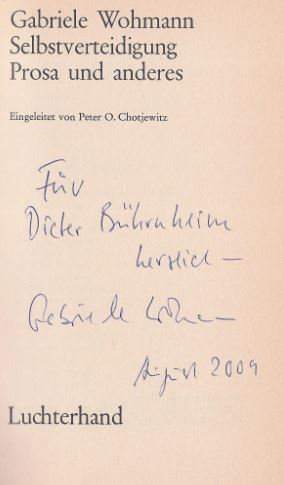 Wohmann, Gabriele. Selbstverteidigung.