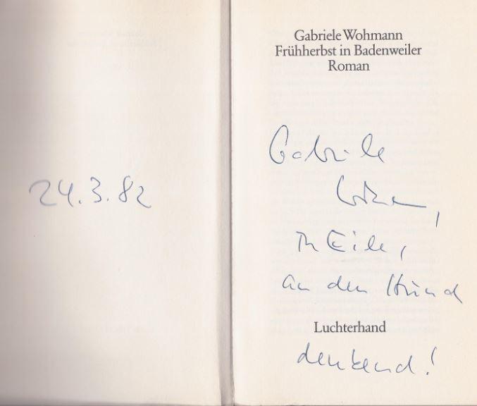 Wohmann, Gabriele. Frühherbst in Badenweiler.