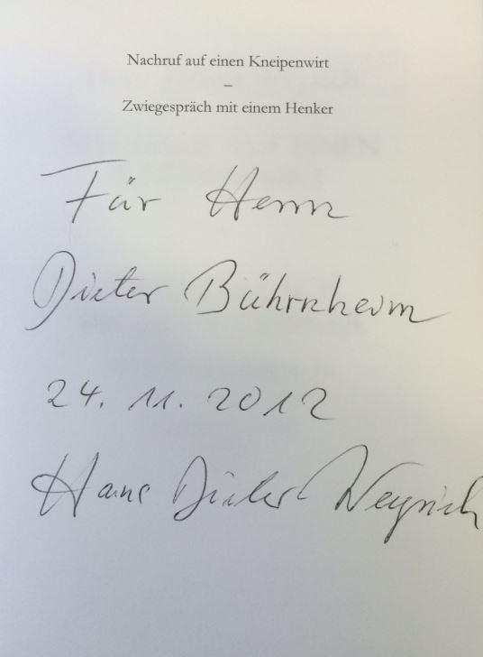 Weyrich, Hans Dieter. Nachruf auf einen Kneipenwirt.