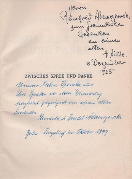Zille, Heinrich. Zwischen Spree und Panke.