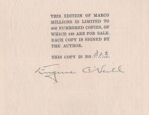 O´Neill, Eugene. Marco Millions.