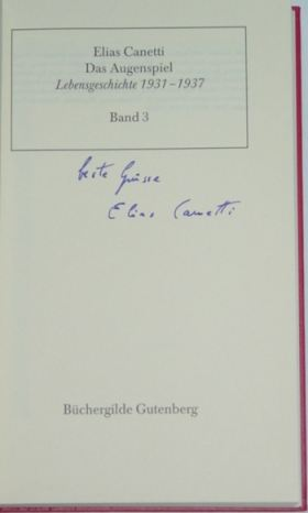 Canetti, Elias. Das Augenspiel.