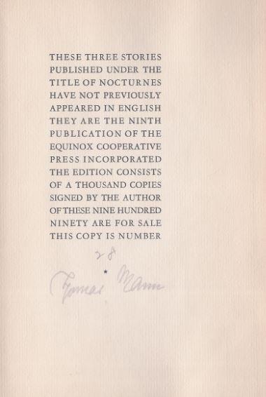 Mann, Thomas. Nocturnes.