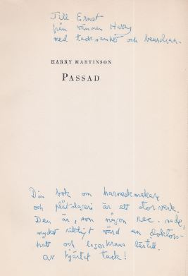 Martinson, Harry. Passad.
