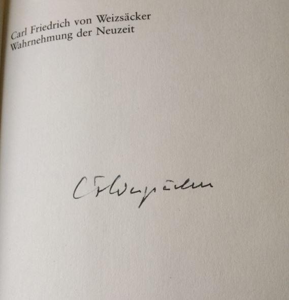 Weizsäcker, Carl Friedrich von. Wahrnehmung der Neuzeit.