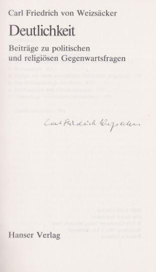 Weizsäcker, Carl Friedrich von. Deutlichkeit.