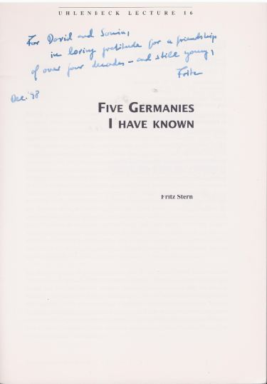 Stern, Fritz. Five Germanies I Have Known.