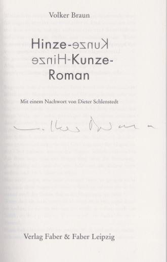 Braun, Volker. Hinze-Kunze-Roman.