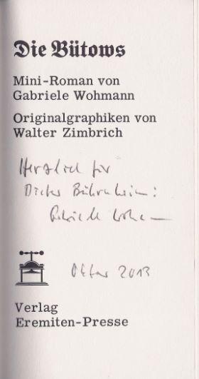 Wohmann, Gabriele. Die Bütows.