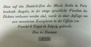 Rilke, Rainer Maria. Briefe an Auguste Rodin.