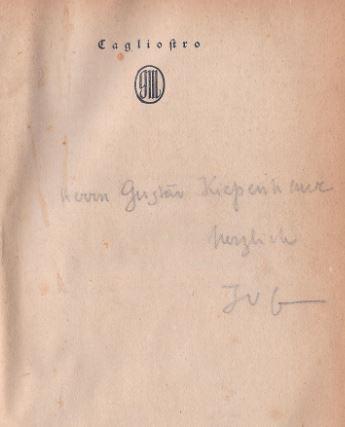 Guenther, Johannes von. Der Erzzauberer Cagliostro.