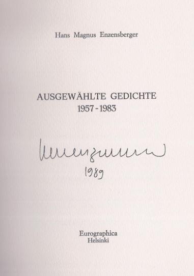 Enzensberger, Hans Magnus. Ausgewählte Gedichte 1957 - 1983.