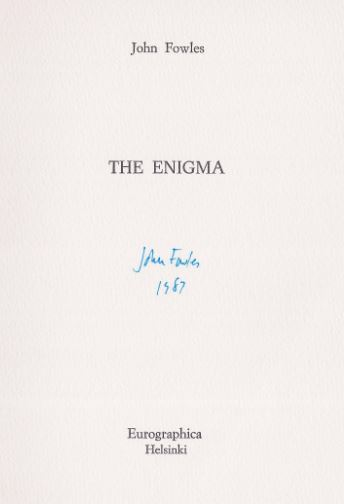 Fowles, John. The Enigma.