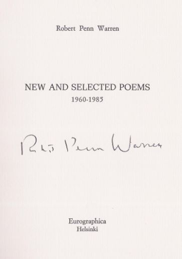 Warren, Robert Penn. New and Selected Poems 1960 - 1985.