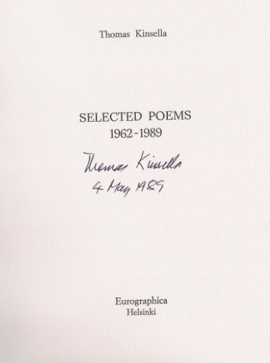Kinsella, Thomas. Selected Poems 1962 - 1989.
