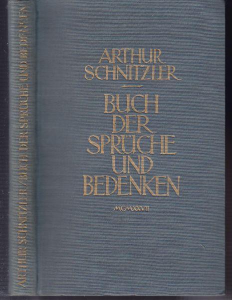 Schnitzler, Arthur. Buch der Sprüche und Bedenken.