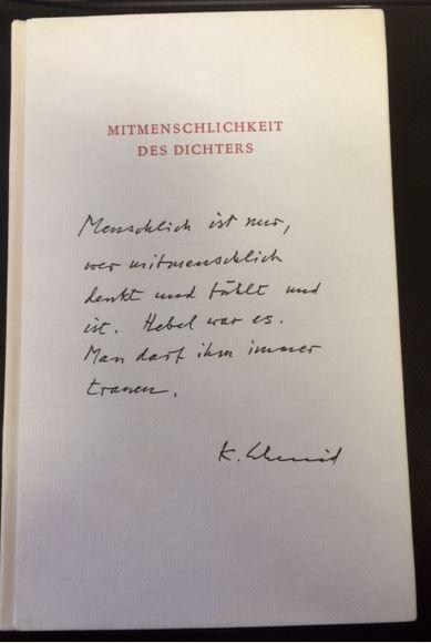 Schmid, Karl. Mitmenschlichkeit des Dichters.