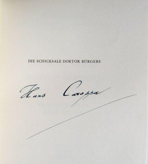 Carossa, Hans. Die Schicksale Doktor Bürgers.