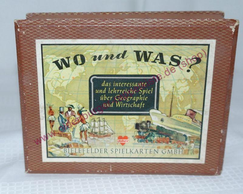 WO UND WAS ? Bielefelder Spielkarten GmbH Kartenspiel komplett ca. 1950-60
